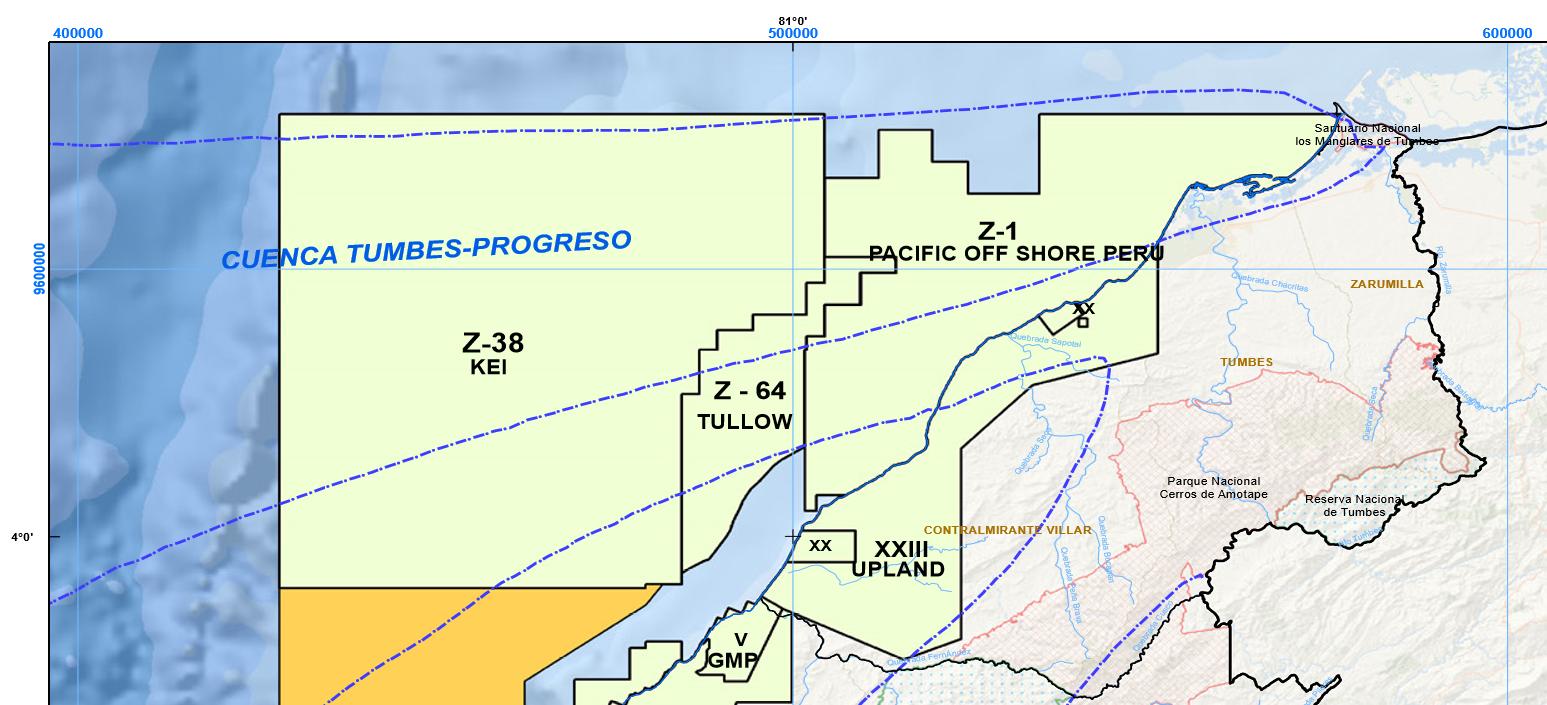 Figura 5: Lotes petroleros en fase de exploración, Lotes 38 y 64, y en explotación, Lote Z-1 y XX, en Tumbes, Perupetro.
