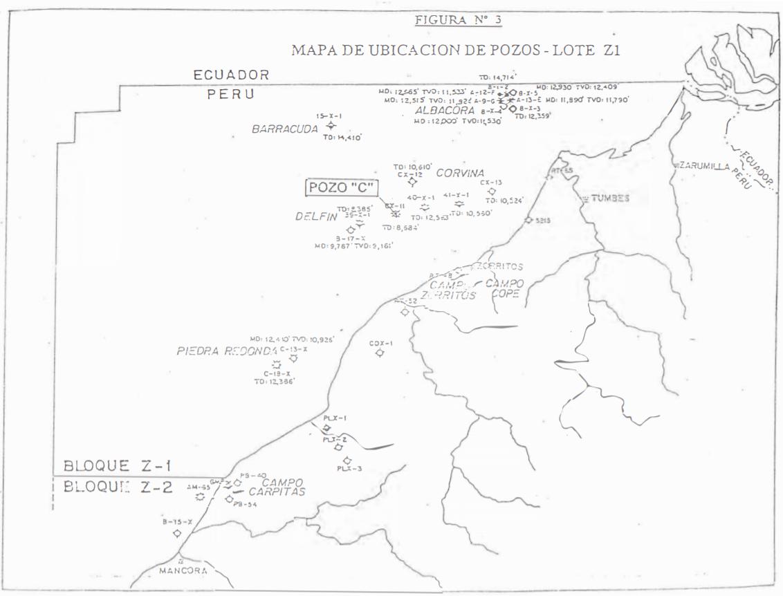 Figura 3: Estructuras hidrocarburíferas descubiertas en el Lote Z-1 offshore hasta el año 1995, Tumbes [2].