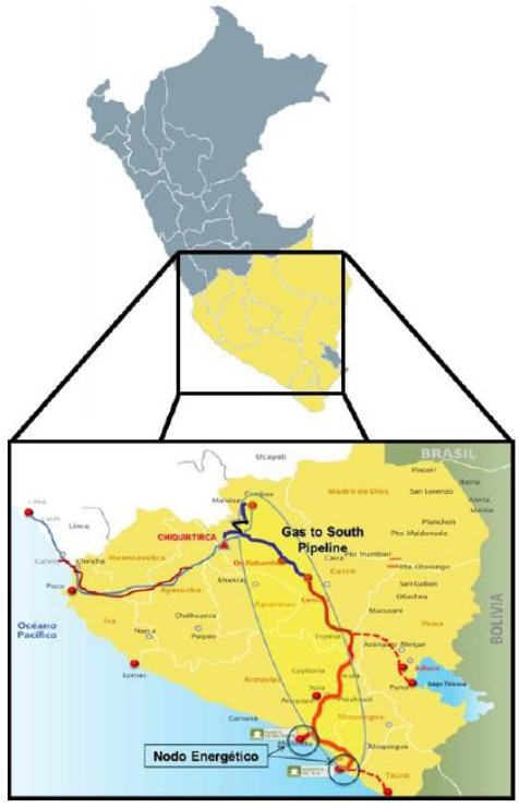 Figura 1: Mapa de los gasoductos de exportación del gas de Camisea.